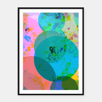 Miniatur geometric circle pattern abstract in blue pink green yellow Framed poster, Live Heroes