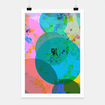 Miniatur geometric circle pattern abstract in blue pink green yellow Poster, Live Heroes