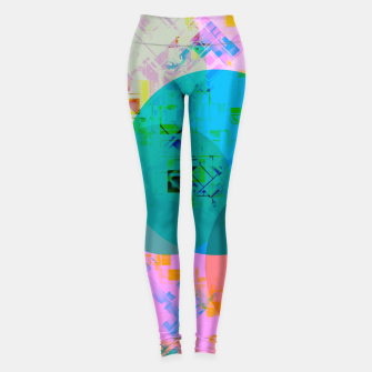 Miniatur geometric circle pattern abstract in blue pink green yellow Leggings, Live Heroes
