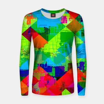 Thumbnail image of geometric square pixel pattern abstract in green red blue Women sweater, Live Heroes