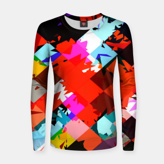 Thumbnail image of geometric square pixel pattern abstract in red blue pink Women sweater, Live Heroes
