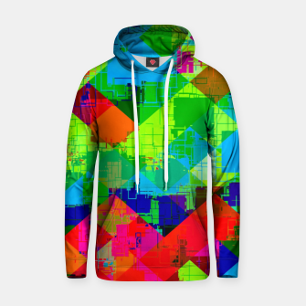 Thumbnail image of geometric square pixel pattern abstract in green red blue Hoodie, Live Heroes