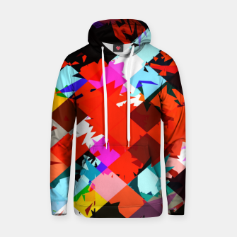 Thumbnail image of geometric square pixel pattern abstract in red blue pink Hoodie, Live Heroes