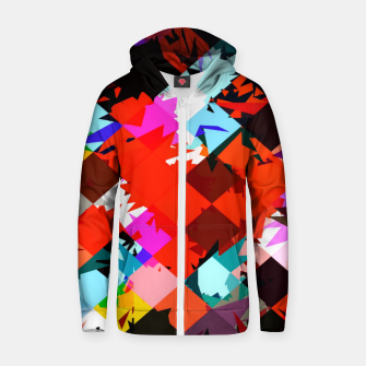Thumbnail image of geometric square pixel pattern abstract in red blue pink Zip up hoodie, Live Heroes