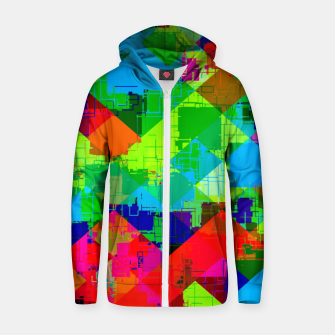 Thumbnail image of geometric square pixel pattern abstract in green red blue Zip up hoodie, Live Heroes