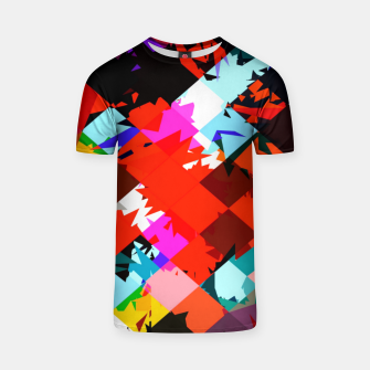 Thumbnail image of geometric square pixel pattern abstract in red blue pink T-shirt, Live Heroes
