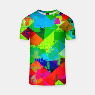 Thumbnail image of geometric square pixel pattern abstract in green red blue T-shirt, Live Heroes