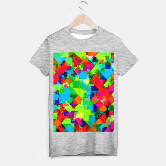 Imagen en miniatura de geometric square pixel pattern abstract in green red blue T-shirt regular, Live Heroes