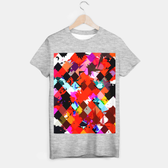 Thumbnail image of geometric square pixel pattern abstract in red blue pink T-shirt regular, Live Heroes