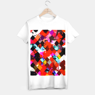 Miniaturka geometric square pixel pattern abstract in red blue pink T-shirt regular, Live Heroes