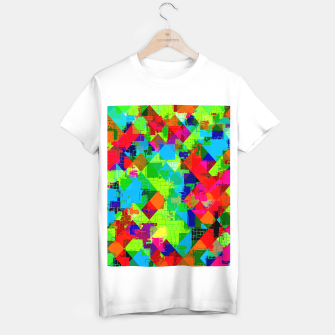 Miniaturka geometric square pixel pattern abstract in green red blue T-shirt regular, Live Heroes