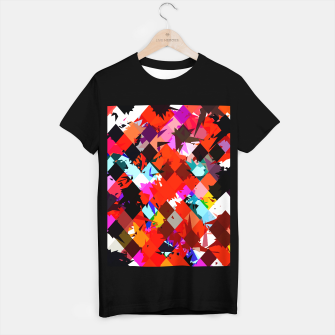 Imagen en miniatura de geometric square pixel pattern abstract in red blue pink T-shirt regular, Live Heroes