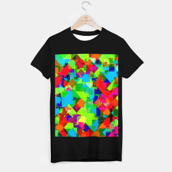 Thumbnail image of geometric square pixel pattern abstract in green red blue T-shirt regular, Live Heroes
