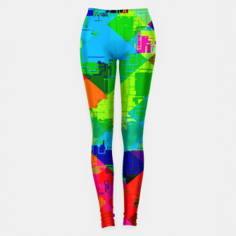 Thumbnail image of geometric square pixel pattern abstract in green red blue Leggings, Live Heroes