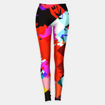 Thumbnail image of geometric square pixel pattern abstract in red blue pink Leggings, Live Heroes