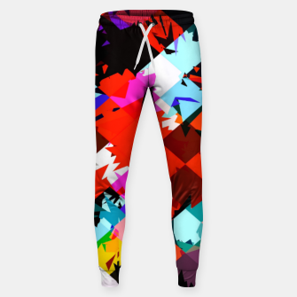Thumbnail image of geometric square pixel pattern abstract in red blue pink Sweatpants, Live Heroes