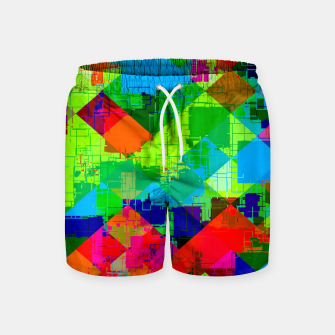 Thumbnail image of geometric square pixel pattern abstract in green red blue Swim Shorts, Live Heroes