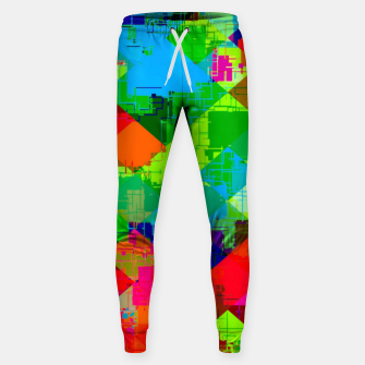 Thumbnail image of geometric square pixel pattern abstract in green red blue Sweatpants, Live Heroes