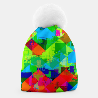 Thumbnail image of geometric square pixel pattern abstract in green red blue Beanie, Live Heroes