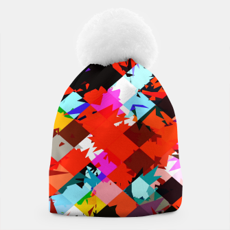 Thumbnail image of geometric square pixel pattern abstract in red blue pink Beanie, Live Heroes