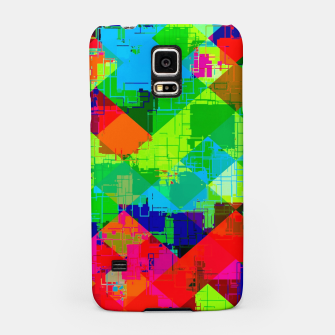 Thumbnail image of geometric square pixel pattern abstract in green red blue Samsung Case, Live Heroes