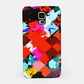Thumbnail image of geometric square pixel pattern abstract in red blue pink Samsung Case, Live Heroes