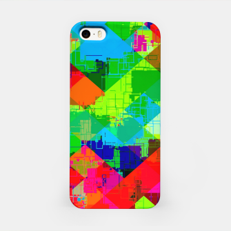 Thumbnail image of geometric square pixel pattern abstract in green red blue iPhone Case, Live Heroes
