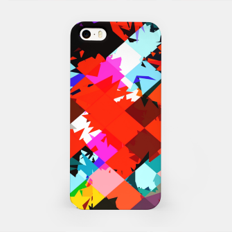 Thumbnail image of geometric square pixel pattern abstract in red blue pink iPhone Case, Live Heroes