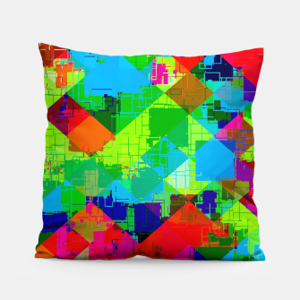 Thumbnail image of geometric square pixel pattern abstract in green red blue Pillow, Live Heroes