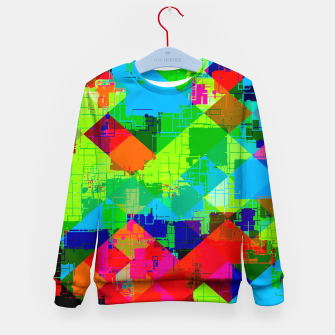 Thumbnail image of geometric square pixel pattern abstract in green red blue Kid's sweater, Live Heroes