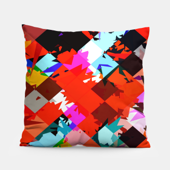 Thumbnail image of geometric square pixel pattern abstract in red blue pink Pillow, Live Heroes
