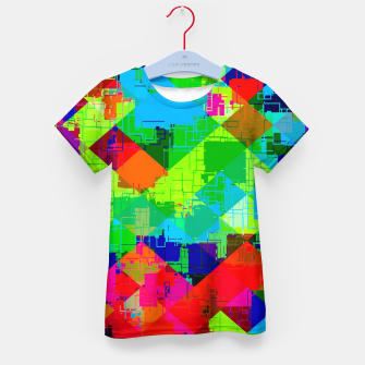 Thumbnail image of geometric square pixel pattern abstract in green red blue Kid's t-shirt, Live Heroes