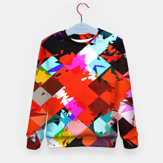 Thumbnail image of geometric square pixel pattern abstract in red blue pink Kid's sweater, Live Heroes