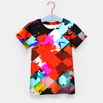 Thumbnail image of geometric square pixel pattern abstract in red blue pink Kid's t-shirt, Live Heroes