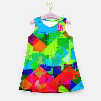 Miniaturka geometric square pixel pattern abstract in green red blue Girl's summer dress, Live Heroes