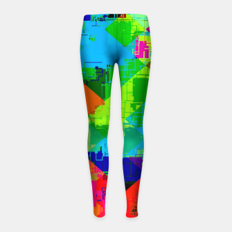 Thumbnail image of geometric square pixel pattern abstract in green red blue Girl's leggings, Live Heroes