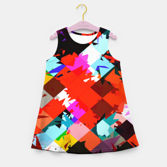 Miniaturka geometric square pixel pattern abstract in red blue pink Girl's summer dress, Live Heroes