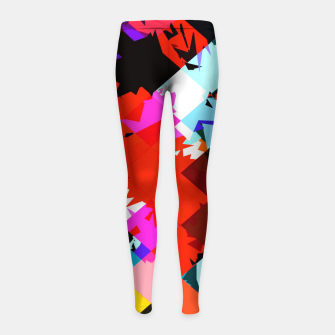Miniaturka geometric square pixel pattern abstract in red blue pink Girl's leggings, Live Heroes