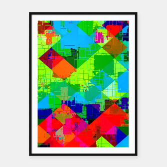 Miniaturka geometric square pixel pattern abstract in green red blue Framed poster, Live Heroes