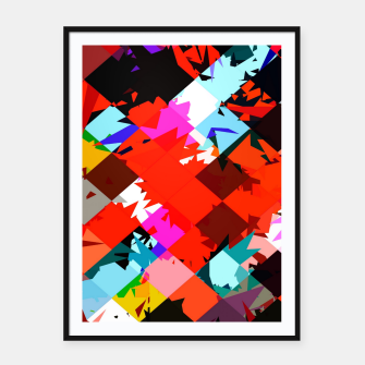 Thumbnail image of geometric square pixel pattern abstract in red blue pink Framed poster, Live Heroes