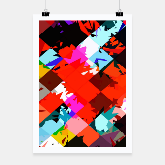 Thumbnail image of geometric square pixel pattern abstract in red blue pink Poster, Live Heroes