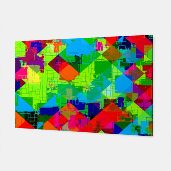 Thumbnail image of geometric square pixel pattern abstract in green red blue Canvas, Live Heroes