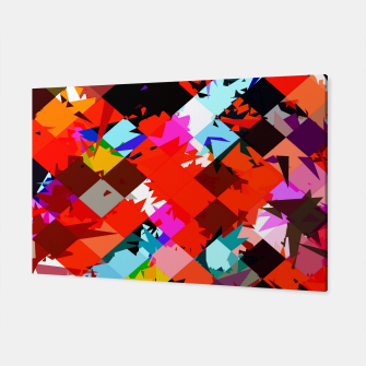 Thumbnail image of geometric square pixel pattern abstract in red blue pink Canvas, Live Heroes