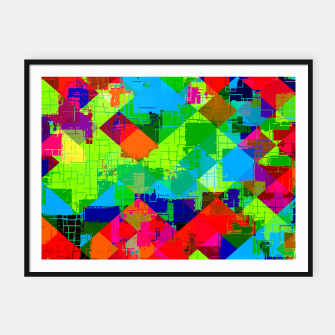 Thumbnail image of geometric square pixel pattern abstract in green red blue Framed poster, Live Heroes