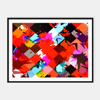 Miniaturka geometric square pixel pattern abstract in red blue pink Framed poster, Live Heroes