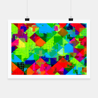 Thumbnail image of geometric square pixel pattern abstract in green red blue Poster, Live Heroes