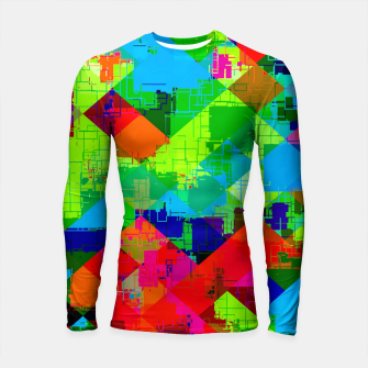 Thumbnail image of geometric square pixel pattern abstract in green red blue Longsleeve rashguard , Live Heroes
