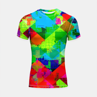 Thumbnail image of geometric square pixel pattern abstract in green red blue Shortsleeve rashguard, Live Heroes