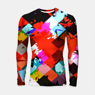 Thumbnail image of geometric square pixel pattern abstract in red blue pink Longsleeve rashguard , Live Heroes
