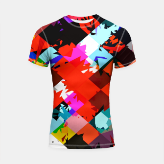 Miniaturka geometric square pixel pattern abstract in red blue pink Shortsleeve rashguard, Live Heroes